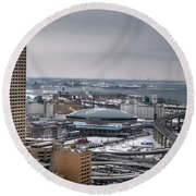 Queen City Winter Wonderland After The Storm Series 0025 Round Beach Towel