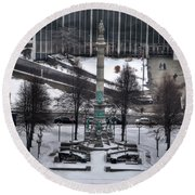 Queen City Winter Wonderland After The Storm Series 0026 Round Beach Towel