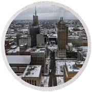Queen City Winter Wonderland After The Storm Series 004 Round Beach Towel