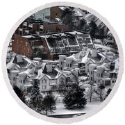 Queen City Winter Wonderland After The Storm Series0028 Round Beach Towel