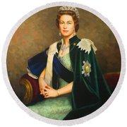 Queen Elizabeth II Portrait - Oil On Canvas Round Beach Towel