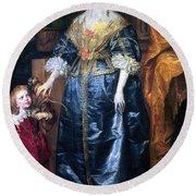 Queen Henrietta Maria (1609-69) Round Beach Towel