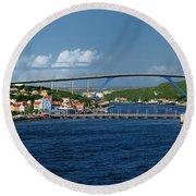 Queen Juliana Bridge  Queen Emma Bridge Curacao Round Beach Towel