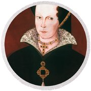 Queen Mary I Of England Round Beach Towel