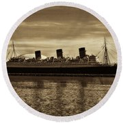 Queen Mary In Sepia Round Beach Towel