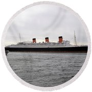 Queen Mary Ocean Liner Full Starboard Side 03 Long Beach Ca Round Beach Towel