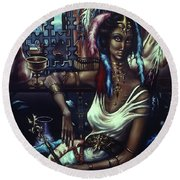 Queen Of Atlantis Round Beach Towel
