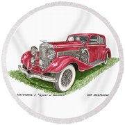 Queen Of Diamonds 1933 Duesenberg Model J Round Beach Towel
