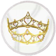 Queen Of Hearts Crown Tiara By Kristie Hubler Round Beach Towel