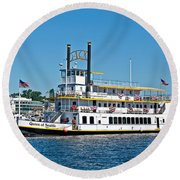 Queen Of Seattle Vintage Paddle Boat Art Prints Round Beach Towel