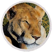 Queen Of The African Savannah Round Beach Towel