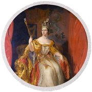 Queen Victoria Of England (1819-1901) Round Beach Towel