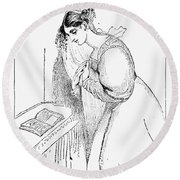 Queen Victoria Sketch Round Beach Towel