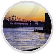 Queensboro Bridge At Night - Manhattan Round Beach Towel