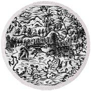Queiros Voyages, 1613 Round Beach Towel