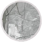 Querida In The Snow Storm Round Beach Towel