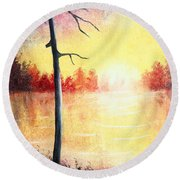 Quiet Evening By The River Round Beach Towel
