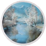 Quiet Ice  Round Beach Towel