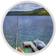 Quiet Jetty Round Beach Towel by Evelina Kremsdorf
