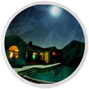 Quiet Night With A Full Moon Round Beach Towel