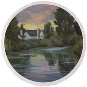 Quiet Reflections Duwamish River Round Beach Towel