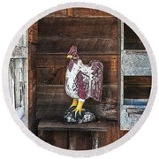 Quiet Rooster Wood Carved Round Beach Towel