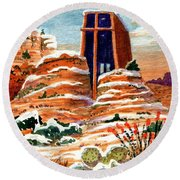 Quiet Snowfall  Sedona  Arizona Round Beach Towel
