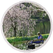 Quiet Time Among The Cherry Blossoms Round Beach Towel