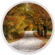 Quiet Vermont Backroad Round Beach Towel