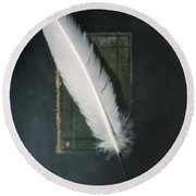 Quill And Book Round Beach Towel