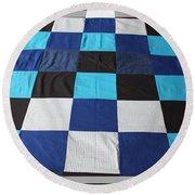 Quilt Blue Blocks Round Beach Towel