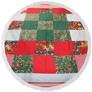 Quilt Christmas Blocks Round Beach Towel