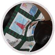 Quilt Newfoundland Tartan Green Posts Round Beach Towel by Barbara Griffin