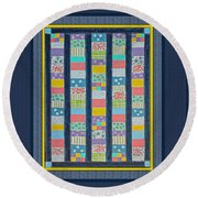 Quilt Painting With Digital Border 2 Round Beach Towel