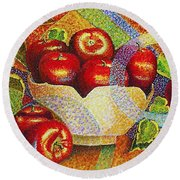 quilted Apples Round Beach Towel