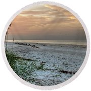 Quite Time On The Beach Round Beach Towel