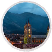 Quito Basilica At Night Round Beach Towel