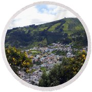 Quito From El Panecillo Round Beach Towel