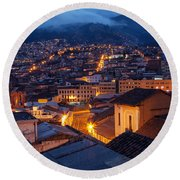 Quito Old Town At Night Round Beach Towel
