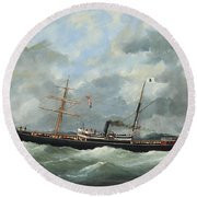 R. Bell And Co.s Steamship Bothal In A Heavy Swell Round Beach Towel