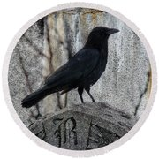 R Is For Raven Round Beach Towel