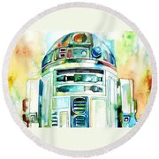 R2-d2 Watercolor Portrait Round Beach Towel