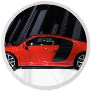 R8 In Red Round Beach Towel