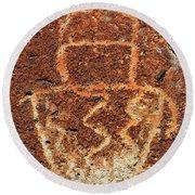 Shaman Petroglyph C Round Beach Towel