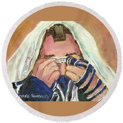 Rabbi's Prayer For The Sabbath Round Beach Towel