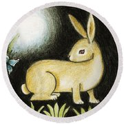 Rabbit And The Butterfly . . . From The Tapestry Series Round Beach Towel