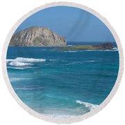 Rabbit Island Panorama Round Beach Towel