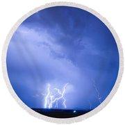 Rabbit Mountain Lightning Strikes Boulder County Co Round Beach Towel