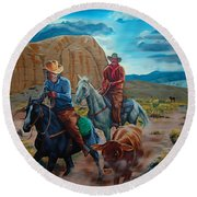 Rabbitbrush Round-up Round Beach Towel