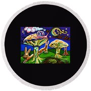Rabbits At Night Round Beach Towel